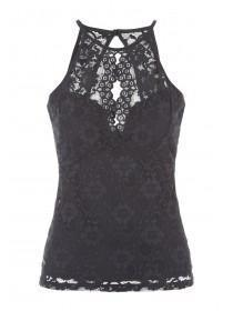 Jane Norman Black Lace Racer Top