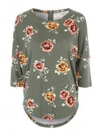 Womens Khaki Floral Print Top