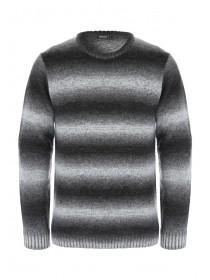 Mens Black Blurred Stripe Jumper