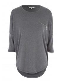 Womens Grey 3/4 Sleeve Top
