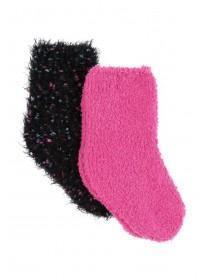 Older Girls 2pk Pink Fluffy Socks