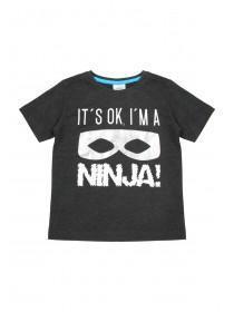 Younger Boys Charcoal Ninja T-Shirt