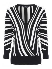Jane Norman Monochrome Stripe Wrap Jumper