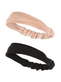 Womens 2pk Pink and Black Headbands