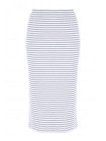 Womens Cream Ribbed Midi Skirt