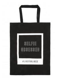 Womens Cream Selfie Shopper Bag