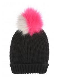 Womens Black Ribbed Pom Hat