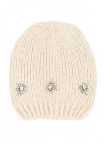 Womens Cream Embellished Hat