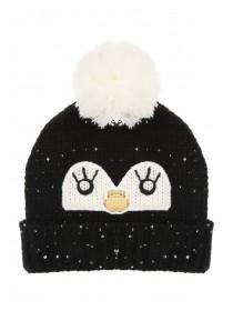 Womens Black Penguin Hat