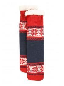 Mens Red Fair Isle Slipper Socks