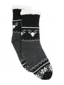 Mens Black Fair Isle Slipper Socks