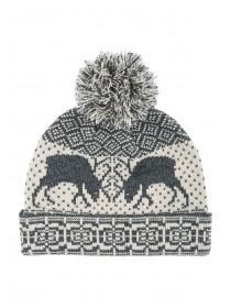 Mens Grey Stag Beanie Hat