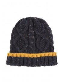 Mens Dark Blue Colour Block Beanie
