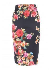 Jane Norman Black Floral Pencil Skirt