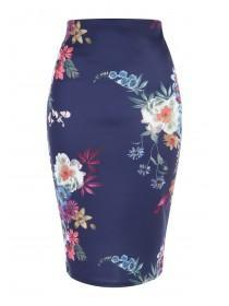 Jane Norman Navy Floral Pencil Skirt