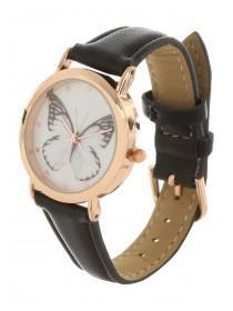 Womens Black Butterfly Dial Watch
