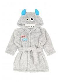 Baby Boys Grey Monster Dressing Gown