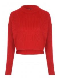 Jane Norman Red Rib Cropped Jumper