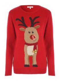 Womens Red Reindeer Jumper