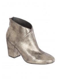 Womens Gold Heeled Ankle Boot