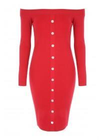 Jane Norman Red Popper Front Bardot Dress