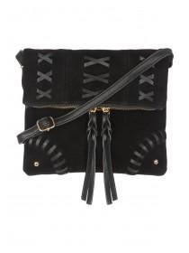 Womens Black Whipstitch Cross Body Bag