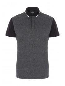 Mens Black Contrast Polo Top