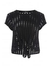 Jane Norman Black Circular Cut Out Knot Top