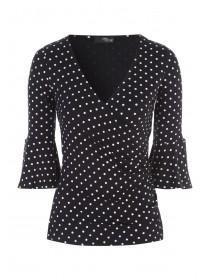 Jane Norman Polka dot flared sleeve top