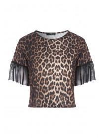 Jane Norman Animal Print Mesh Sleeve Top