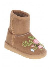 Girls Tan Emboidered Boots