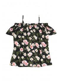 Older Girls Black Floral Woven Bardot Top