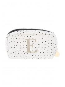 Women's White Initial E Cosmetic Bag