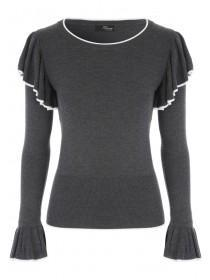 Jane Norman Grey Contrast Frill Jumper