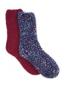 Womens 2pk Fluffy Socks