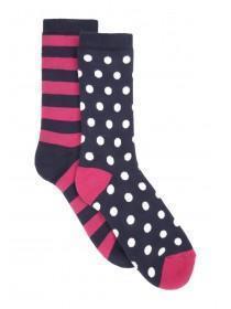Womens 2pk Patterned Thermal Socks