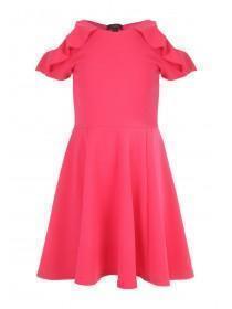 Older Girls Pink Frilled Cold Shoulder Sophie Dress