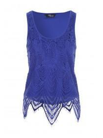 Jane Norman Blue Layered Lace Vest