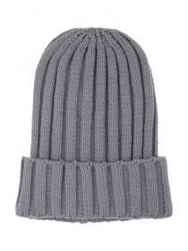 Womens Grey Ribbed Beanie