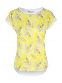 Womens Yellow Woven Front T-Shirt
