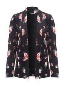 Womens Black Floral Velvet Jacket