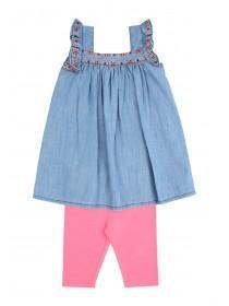 Younger Girls Blue Dress & Leggings Set