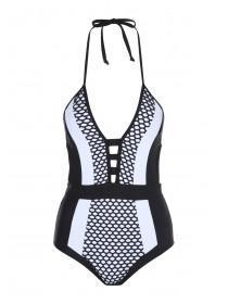 Jane Norman Mono Plunge Neck Swimsuit