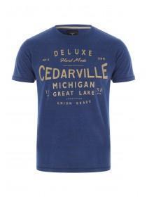 Mens Blue Slogan T-Shirt
