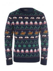 Mens Navy Christmas Dinner Jumper