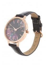 Womens Black Floral Watch