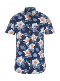Mens Dark Blue Floral Short Sleeved Shirt