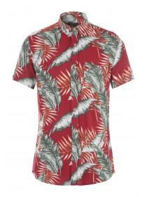 Mens Red Palm Tree Print Shirt