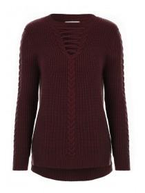 Womens Burgundy Lace Up Jumper