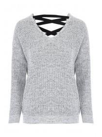 Womens Grey Lace Back Jumper